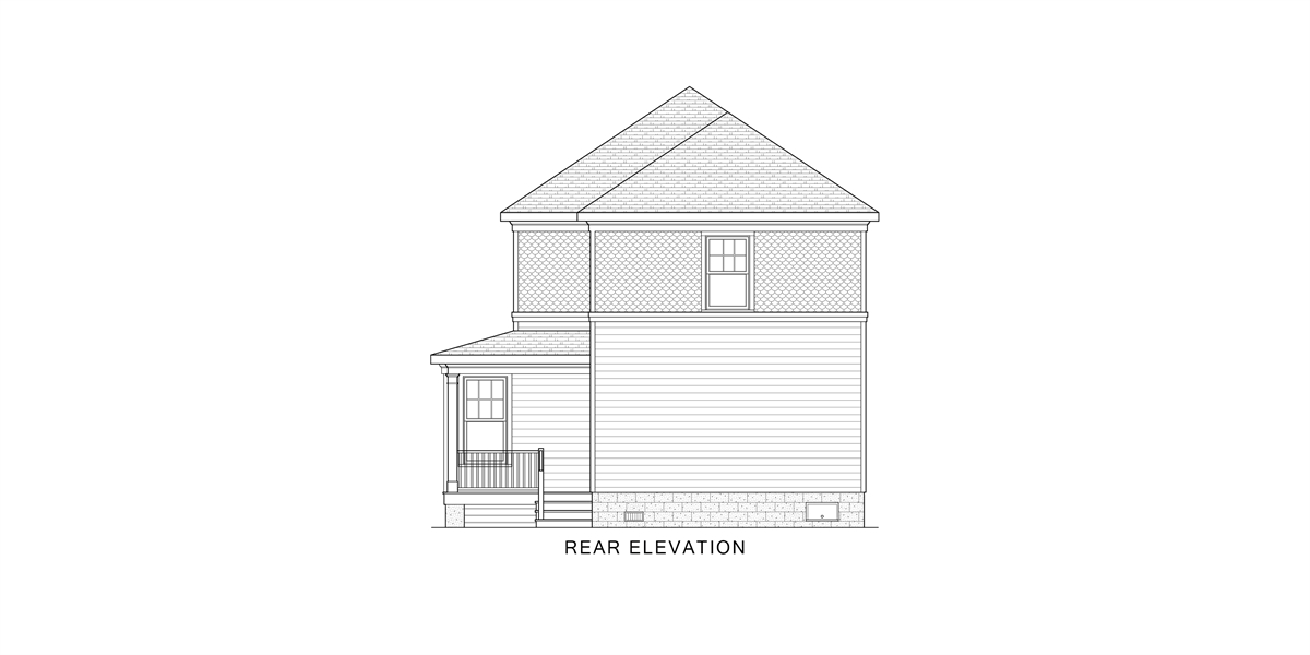 Rear View image of West Orange House Plan