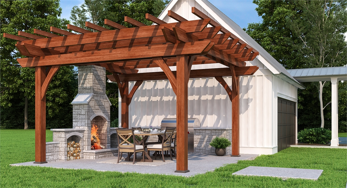 Beautiful Pergola-covered Outdoor Kitchen by DFD House Plans
