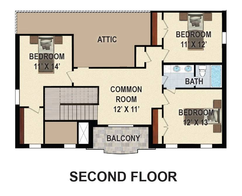 2nd Floor Plan image of First Lady House Plan
