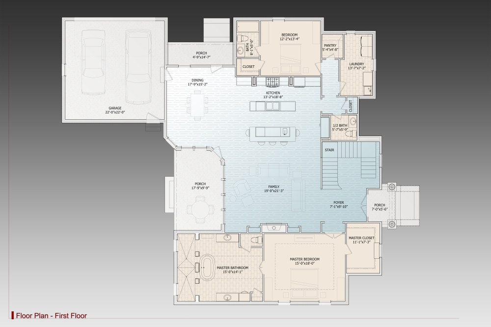 1st Floor Plan image of Le Pierre House Plan