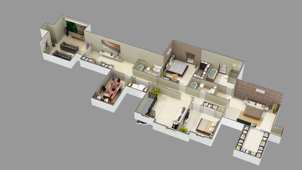 2nd Floor 3D Model by DFD House Plans