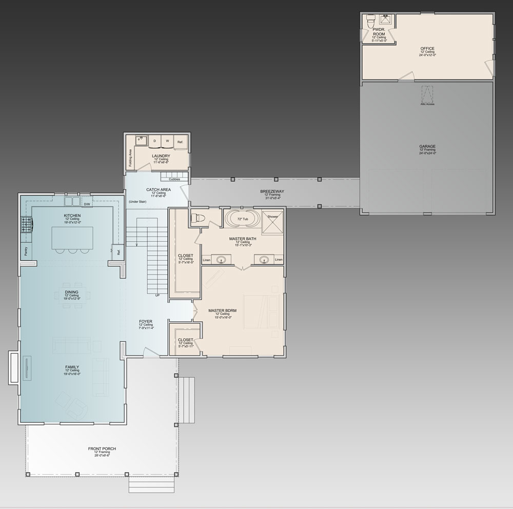 country House Plan with 3 Bedrooms and 3.5 Baths - Plan 9772