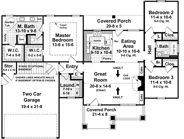 1st Level Floorplan image of The Wilson Creek House Plan