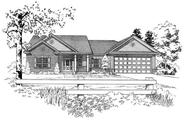 Front Elevation - B & W by DFD House Plans