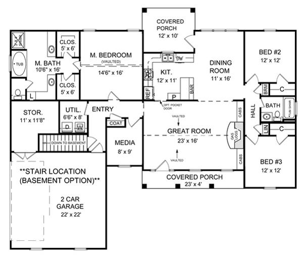 Basement Floorplan by DFD House Plans