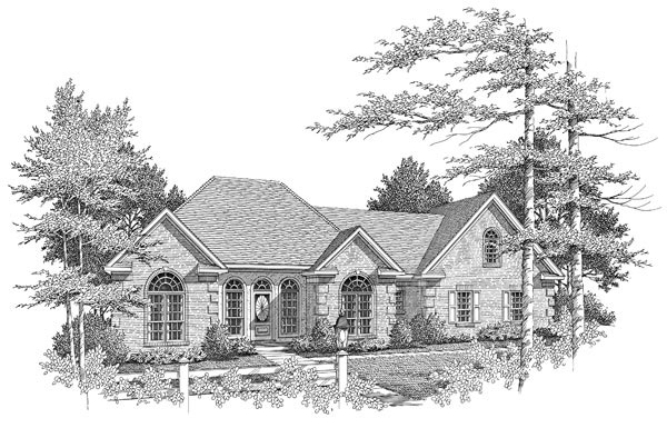 Front Elevation - B&W by DFD House Plans