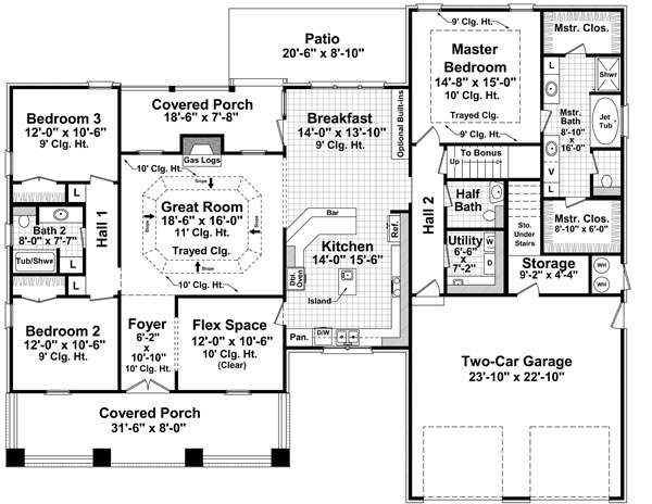 House Plans country house plan with 3 bedrooms and 2.5 baths - plan 7142