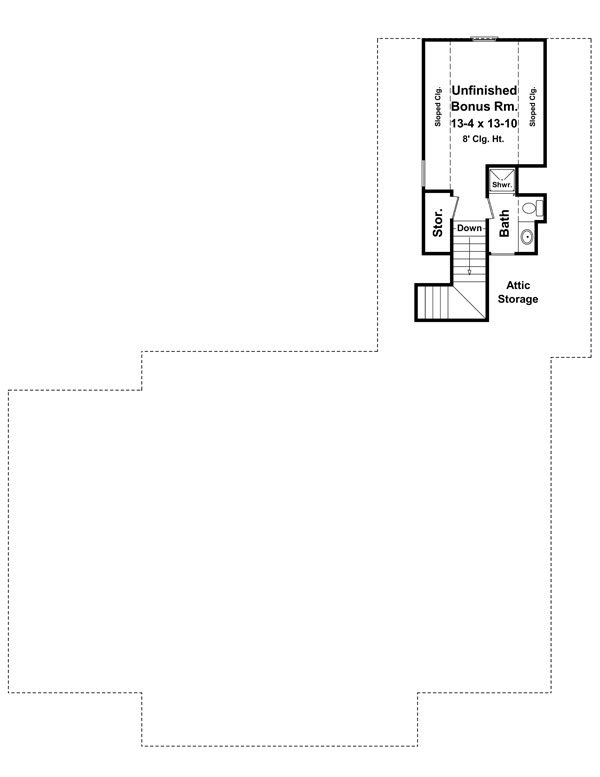Bonus Room Floorplan image of The Avondale Court House Plan