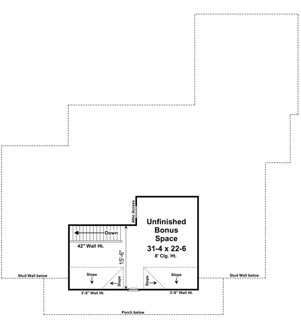 Bonus Room Floorplan image of The Berkshire House Plan