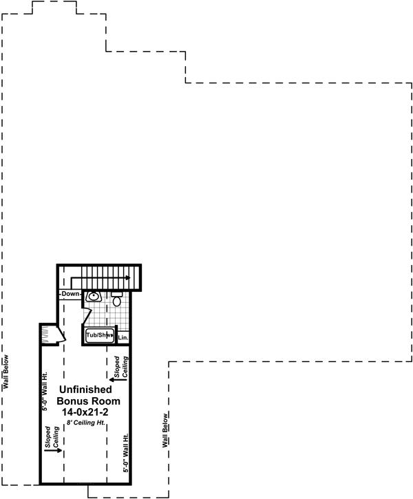 Bonus Room Floorplan by DFD House Plans