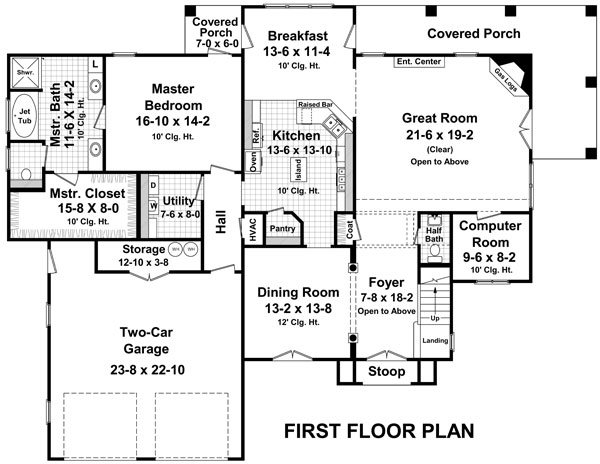 Country House Plan with 3 Bedrooms and 2.5 Baths - Plan 7660 on house floor plans with garage, house floor plans with loft, house floor plans with great room,