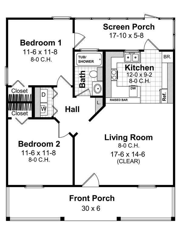 Cottage house plan with 2 bedrooms and 1 5 baths plan 6407 for Dfd house plans 1897