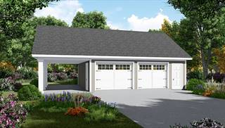 2 Car Garage and Carport by DFD House Plans