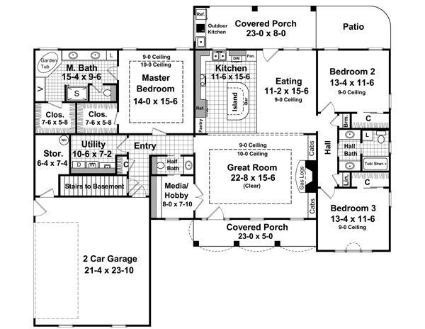 First Floor with Basement Stair Option by DFD House Plans