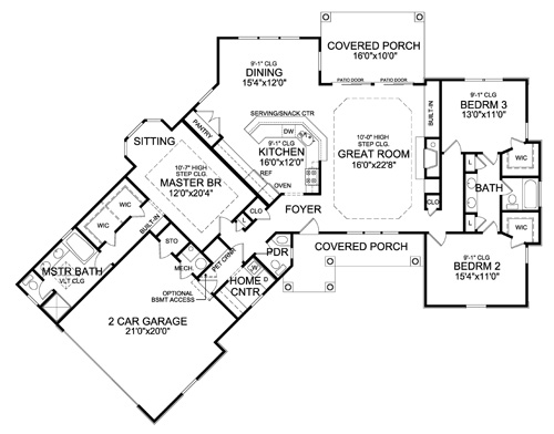 Ranch House Plan with 3 Bedrooms and 2.5 Baths - Plan 4421 on patio home plans, log home plans, rustic home plans, rambler style home plans, l-shaped range home plans, 3 car garage ranch plans, cabin plans, large family home plans, luxury home plans, custom home plans, floor plans, southern brick home plans, mediterranean style home plans, 1 600 sf ranch plans, ranch mansions, ranch horses, ranch blueprints, ranch decks, new ranch style home plans, ranch remodel before and after,