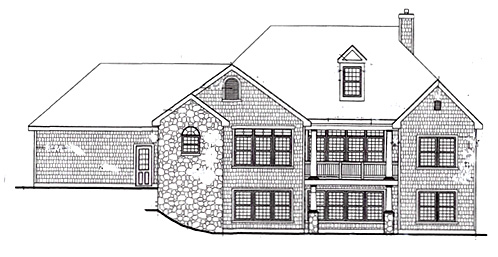 Rear Elevation with Opt Walk-Out Bsmt by DFD House Plans
