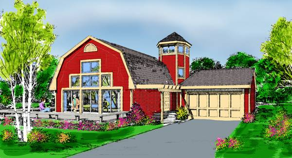 Contemporary house plan with 3 bedrooms and 2 5 baths for Barn shaped house plans