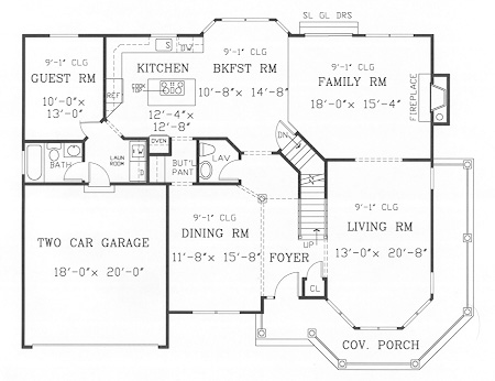 First Floor Plan image of GETTYSBURG II House Plan