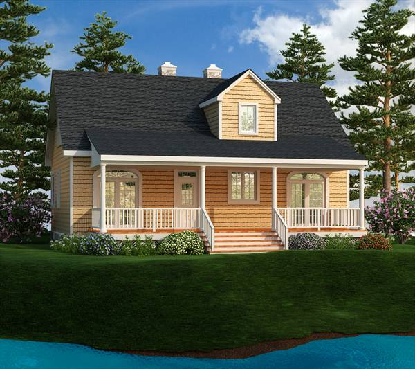 Rear Rendering image of LAKEVIEW House Plan