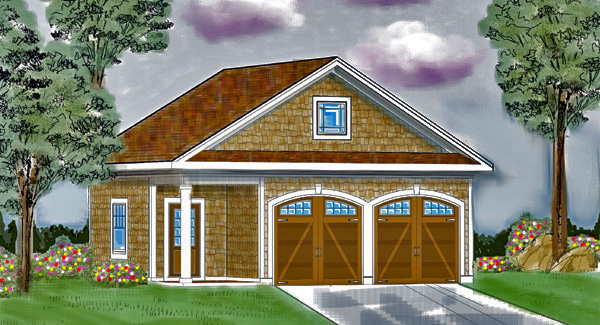 Front: Included Detached Garage by DFD House Plans