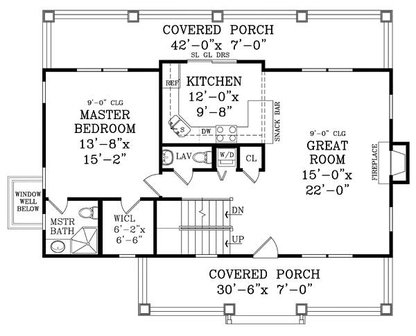 First Floor Plan image of CRAFTSMAN COTTAGE II House Plan