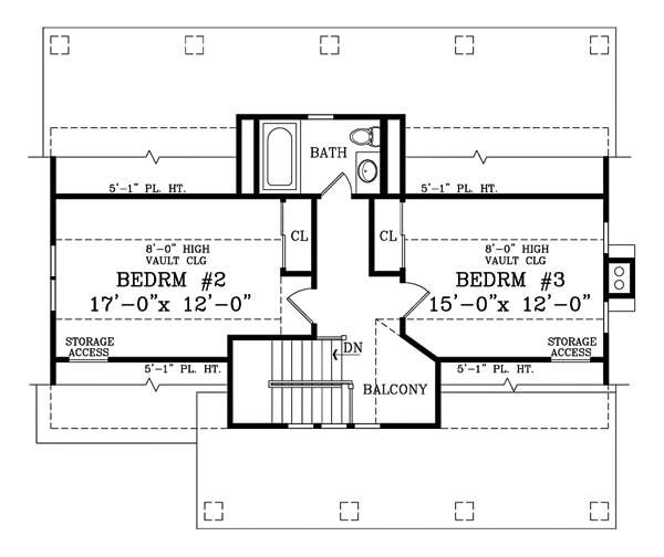 Second Floor Plan image of CRAFTSMAN COTTAGE II House Plan