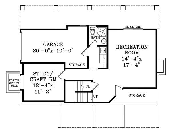Walk-out Basement Plan image of CRAFTSMAN COTTAGE II House Plan
