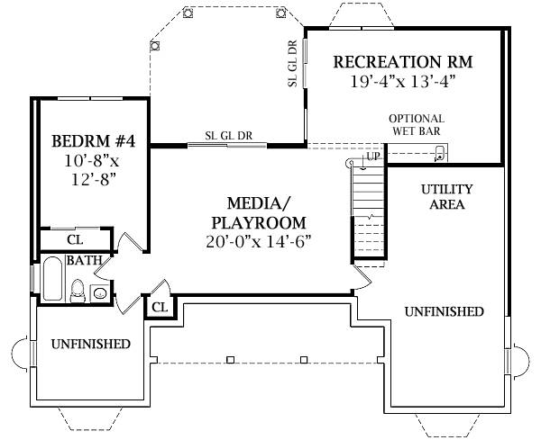 Walk-out Basement Plan by DFD House Plans