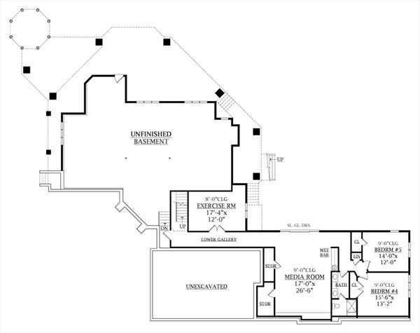 Basement Floor Plan image of TREE TOP TREASURE House Plan