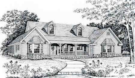 Front Rendering image of CEDAR MILLS House Plan