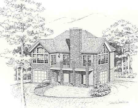 Front Rendering #1 image of HIGHPOINT House Plan