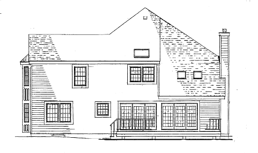 Right Side/Rear Elevation by DFD House Plans