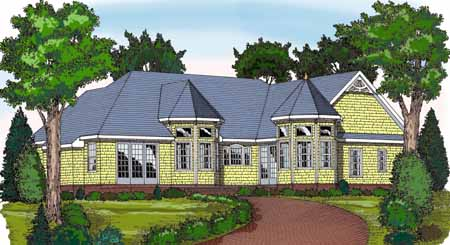 Rear Rendering image of CRANBROOK House Plan