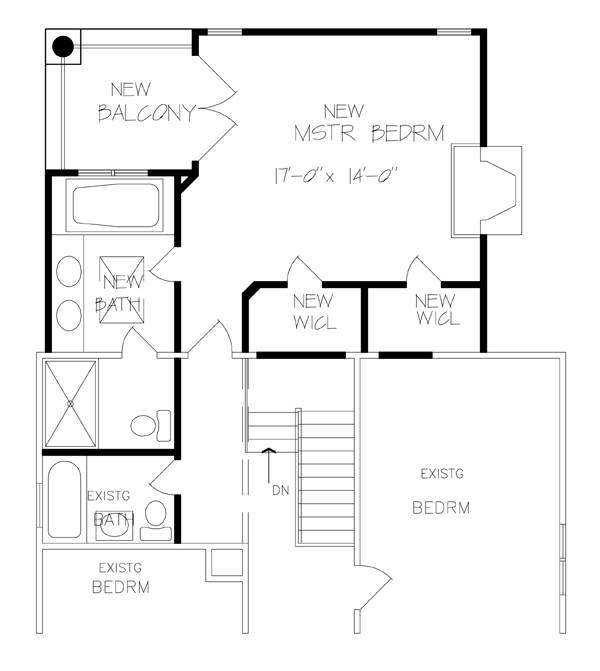 Remodeled Second Floor Plan by DFD House Plans