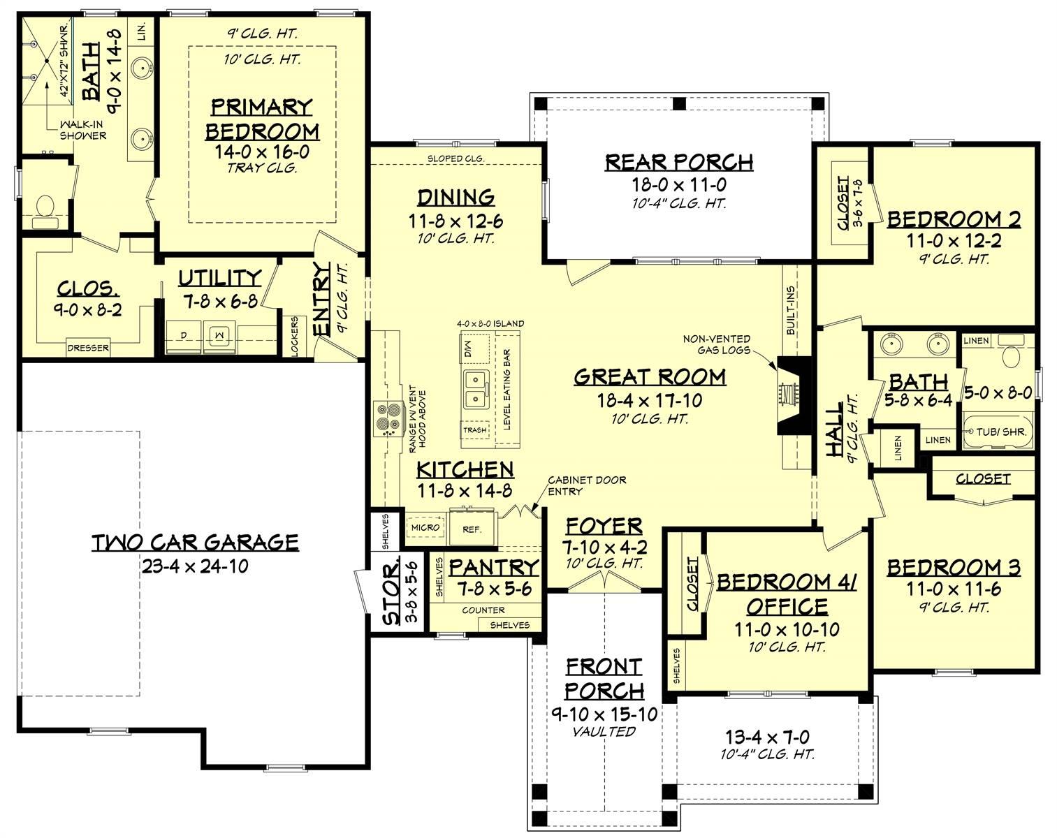 1st Floor image of Green Hills House Plan