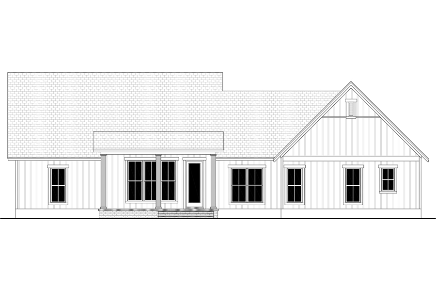 Rear View image of Green Hills House Plan