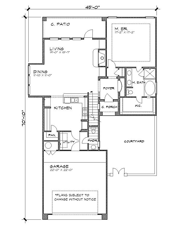Mediterranean House Plan with 3 Bedrooms and 2.5 Baths - Plan 4227