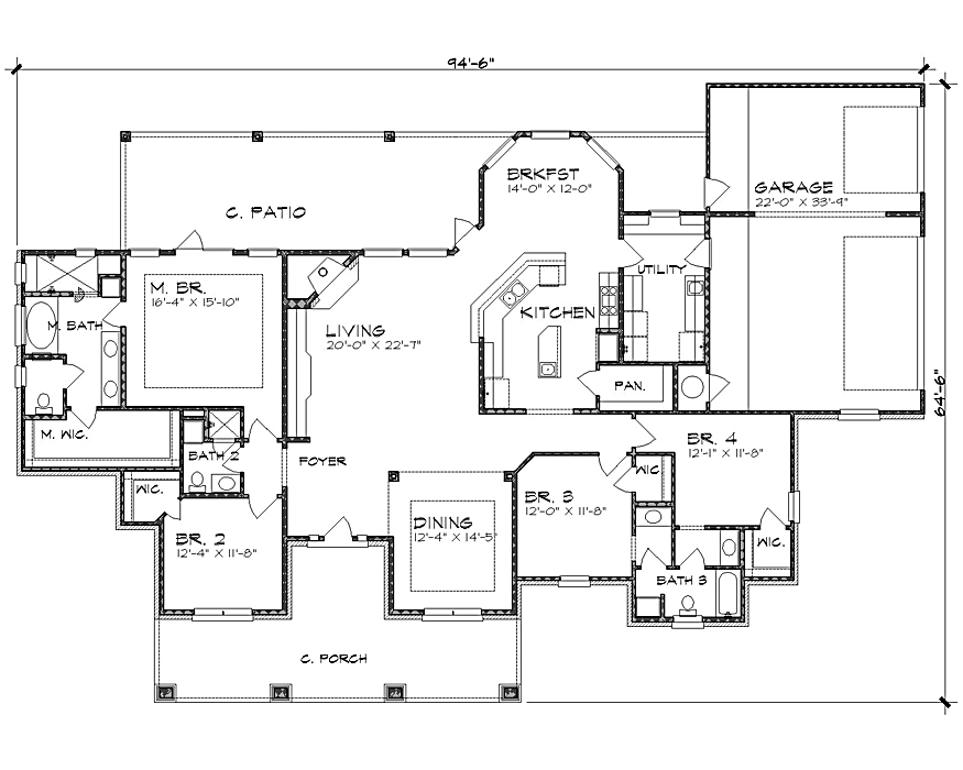 Ranch House Plan with 4 Bedrooms and 3.5 Baths - Plan 4237