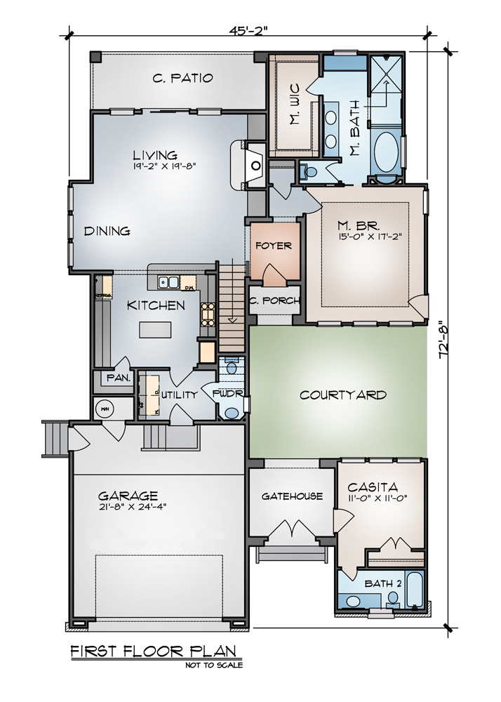courtyard plan with guest casita 16312md architectural designs - Home Plans With Casita And Courtyard
