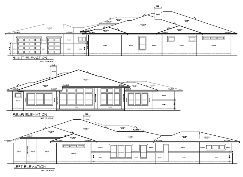 Rear and Side Elevations image of THE DEVEREAUX C House Plan