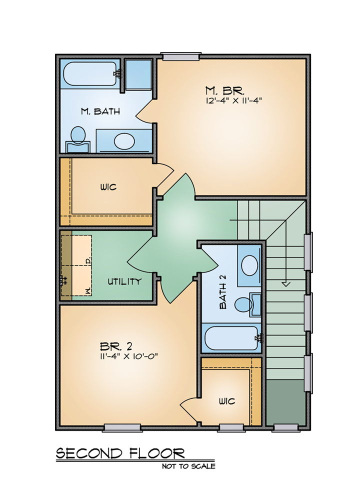 Bungalow House Plan With 2 Bedrooms And 2 5 Baths Plan 8209