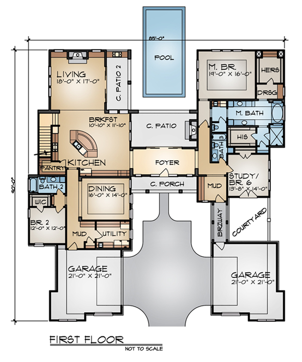 First Floor Plan image of THE SIENNA House Plan