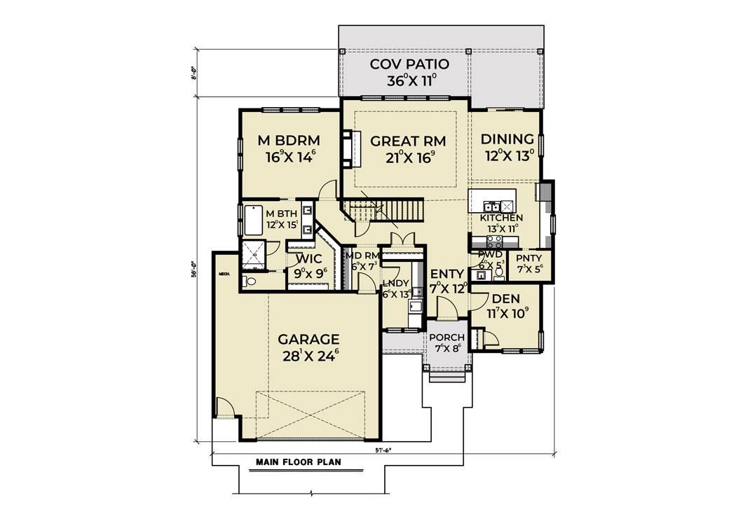 1st Floor Plan image of Cont. Farmhouse 819 House Plan