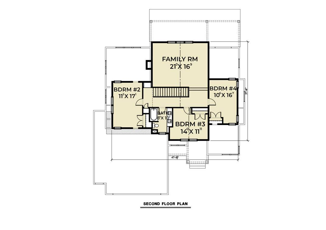 2nd Floor Plan image of Cont. Farmhouse 819 House Plan