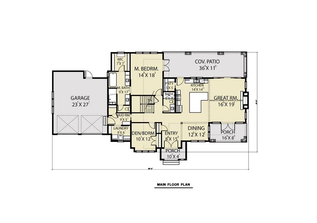Main Floor - Attached Garage image of Roxbury Cottage House Plan