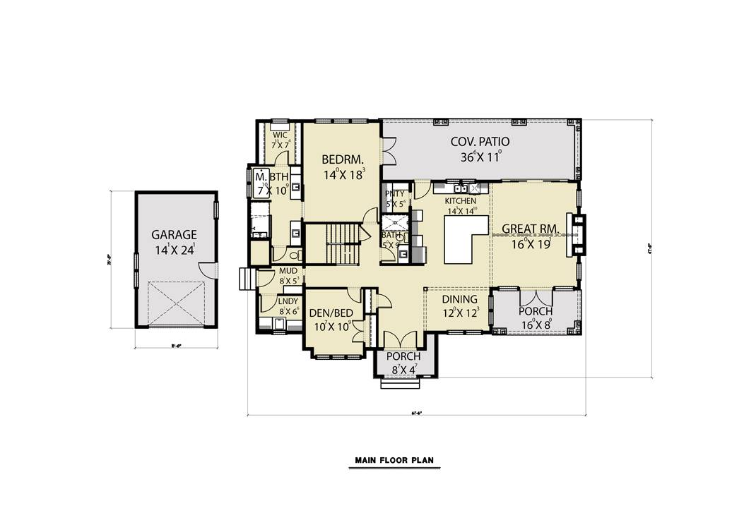 Main Floor - Detached Garage image of Roxbury Cottage House Plan