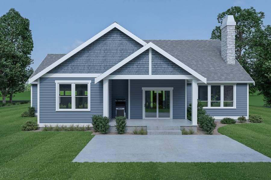 Rear View image of Craftsman 312 House Plan