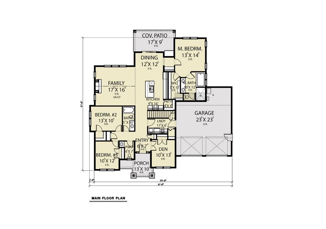 1st Floor image of Craftsman 312 House Plan