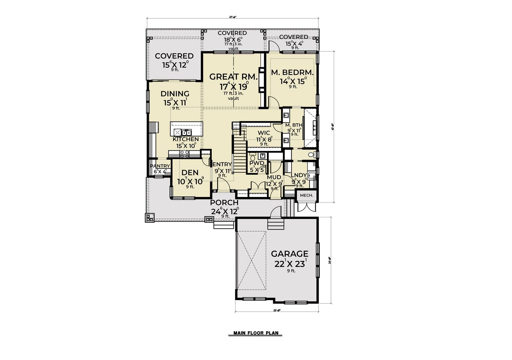 1st Floor image of Craftsman 392 House Plan