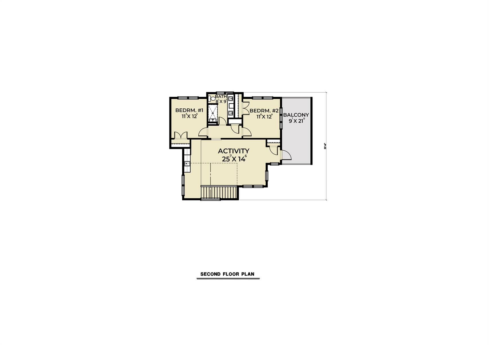 2nd Floor image of Cont. Farmhouse 846 House Plan